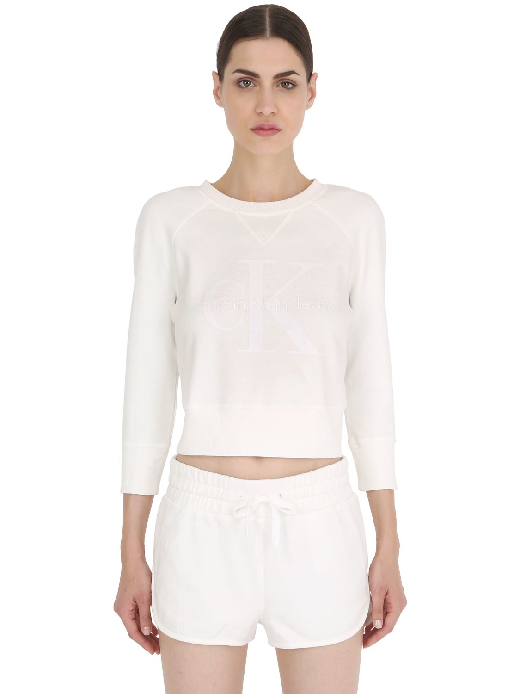 calvin klein jeans shrunken fit cotton jersey sweatshirt. Black Bedroom Furniture Sets. Home Design Ideas