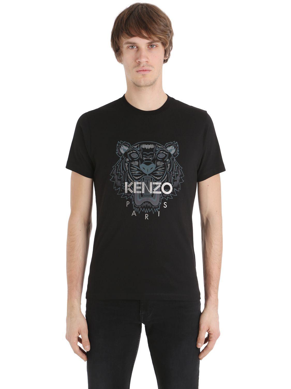 lyst kenzo tiger printed cotton jersey t shirt in black for men. Black Bedroom Furniture Sets. Home Design Ideas