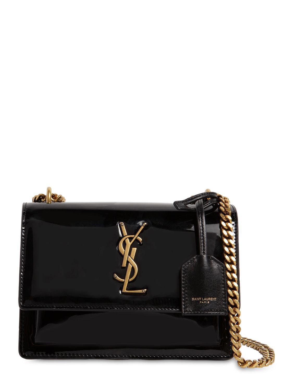 Saint Laurent - Black Small Sunset Patent Leather Shoulder Bag - Lyst. View  fullscreen b098fb73f9a91
