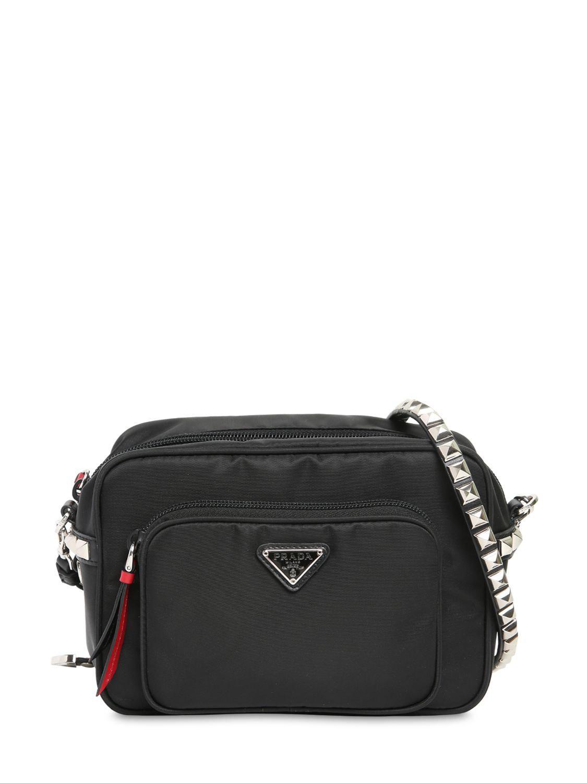 Lyst - Prada New Vela Nylon Bucket Bag W  Studs in Black 6c1de8d32ad71
