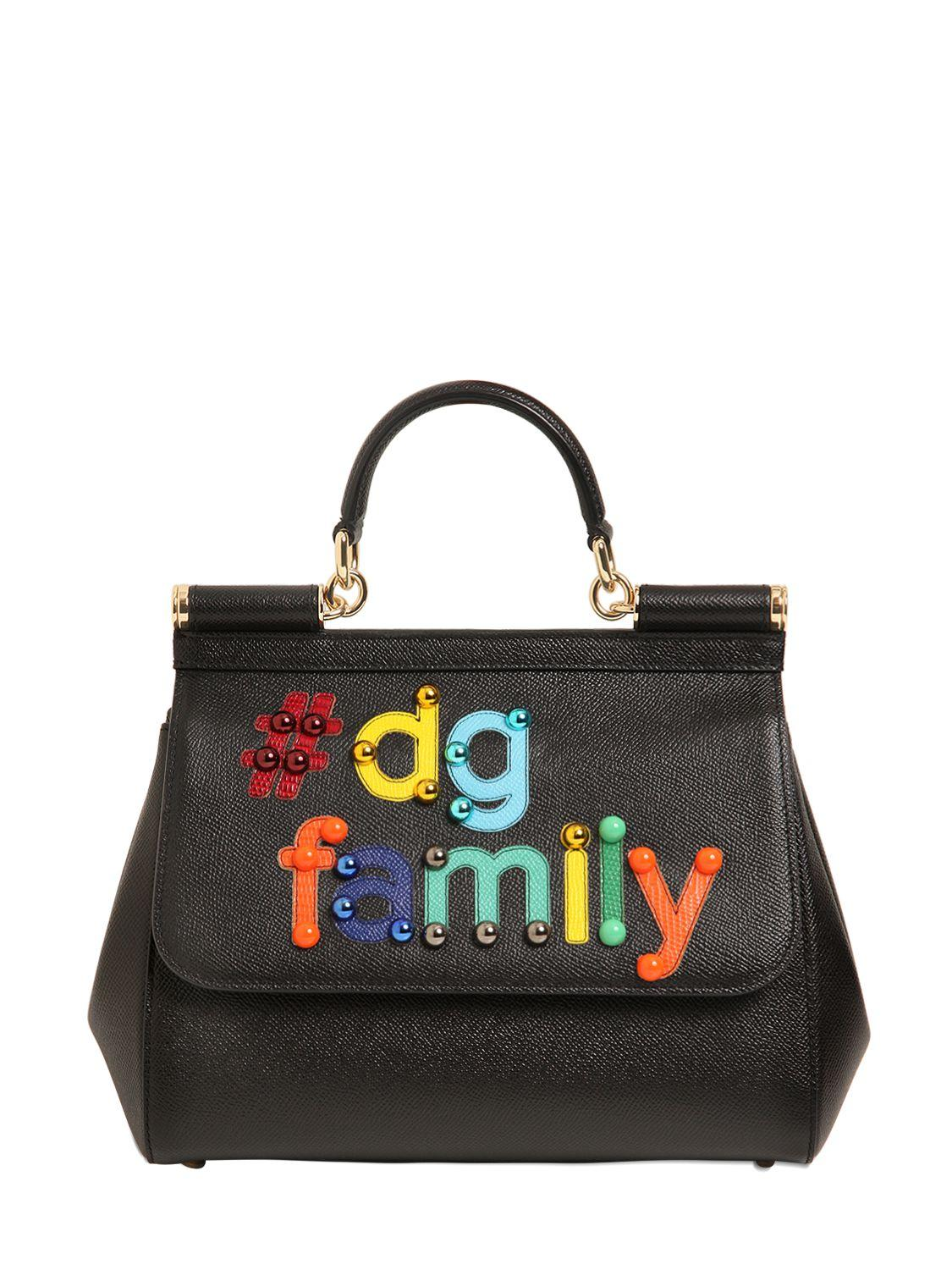 b57f1bb4e9 Lyst - Dolce   Gabbana Medium Sicily Dg Family Leather Bag in Black