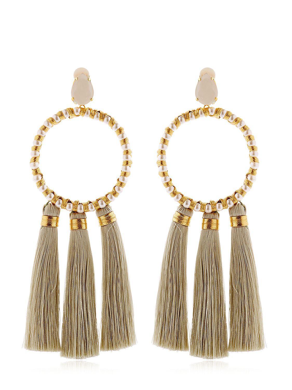 Vanina The Maxi Alma Tassel Hoop Earrings in Metallic