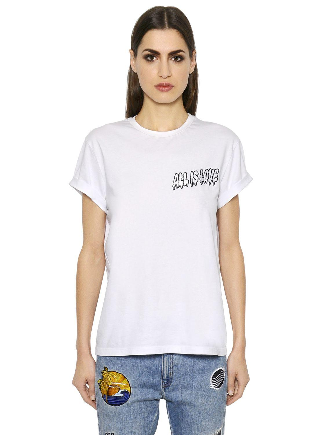 Stella mccartney all is love embroidered jersey t shirt in for Stella mccartney t shirt