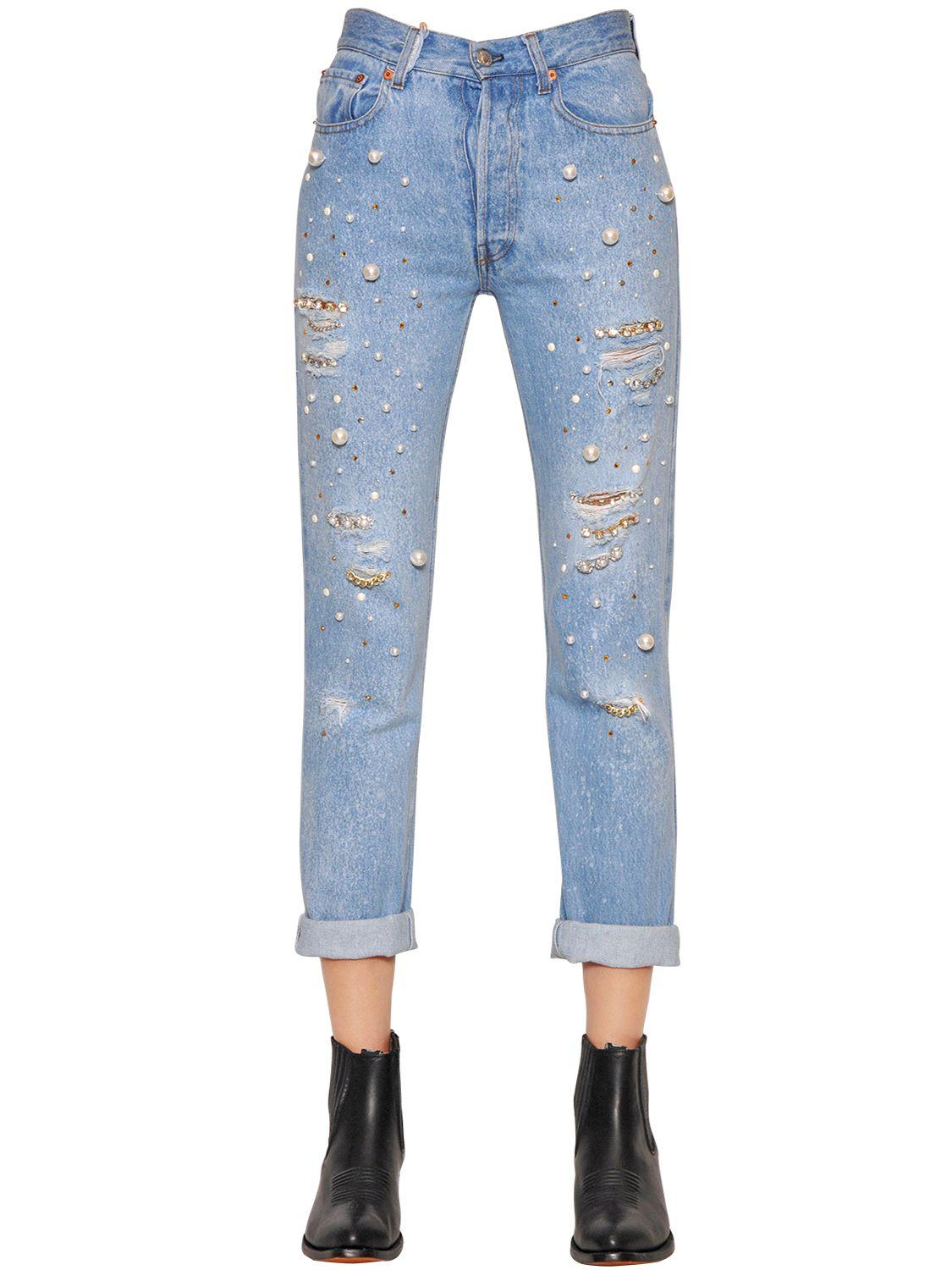 Forte couture Embellished Cotton Denim Boyfriend Jeans in ...