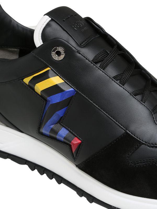 Lyst - Fendi Lightening Leather Speed Runner Sneakers in Black for Men 52269d2e1c