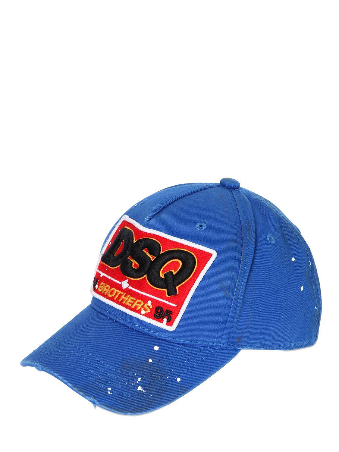 Dsquared 178 Dsq Patch Cotton Canvas Baseball Hat In Blue For