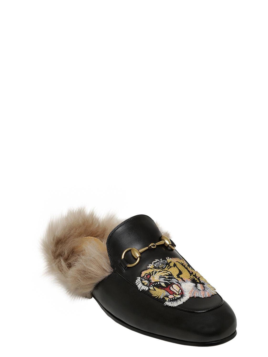 c952a0de6ba Lyst - Gucci Tiger Embroidered Leather Mules in Black
