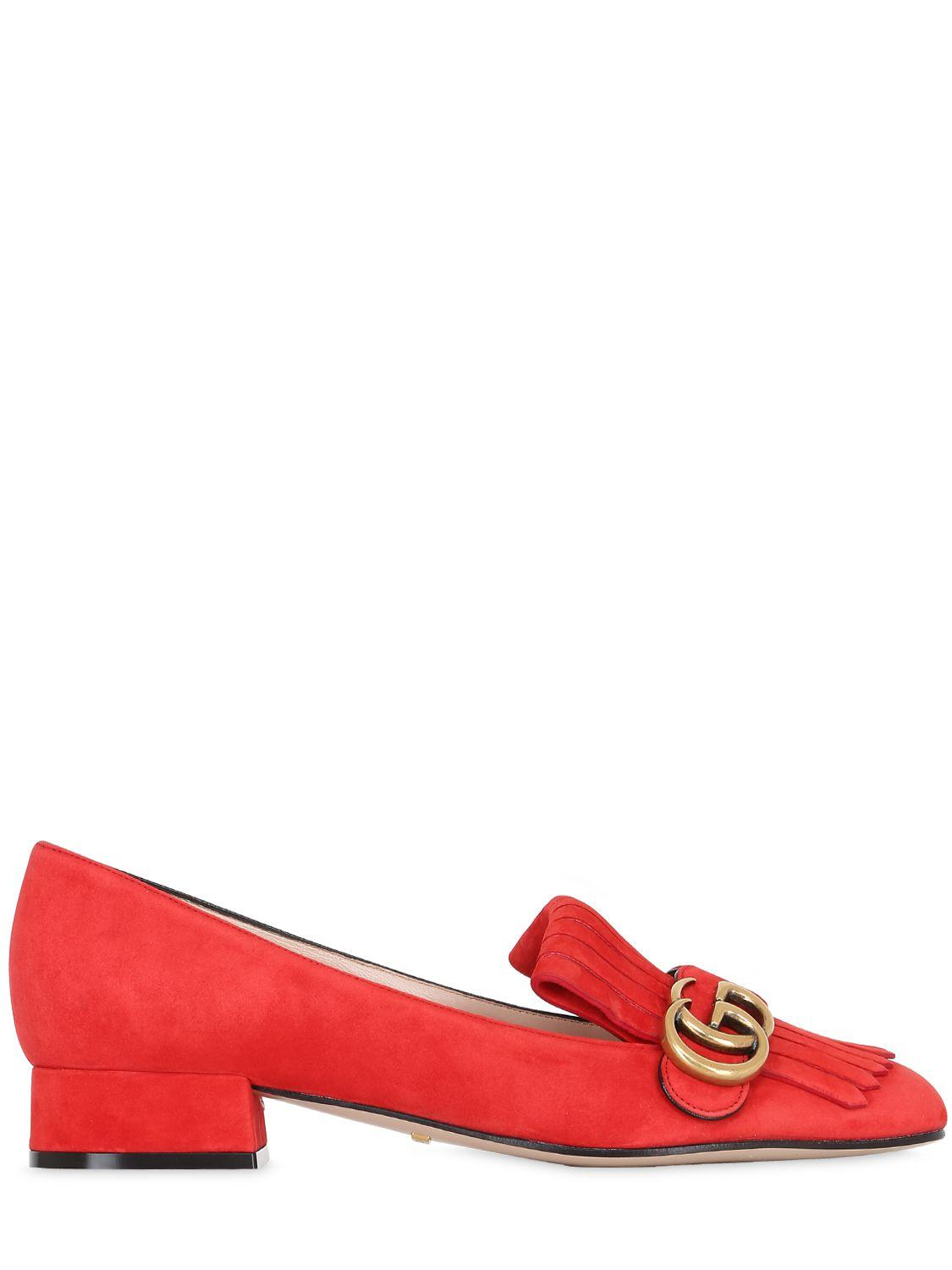 c14f8c277c9 Gucci 25mm Marmont Gg Fringed Suede Pumps in Red - Lyst