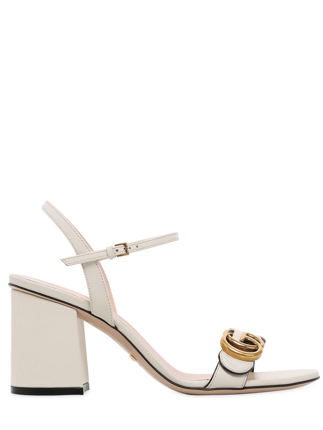 a6040fb4f96 Gucci 75mm Marmont Gg Leather Sandals in White - Lyst