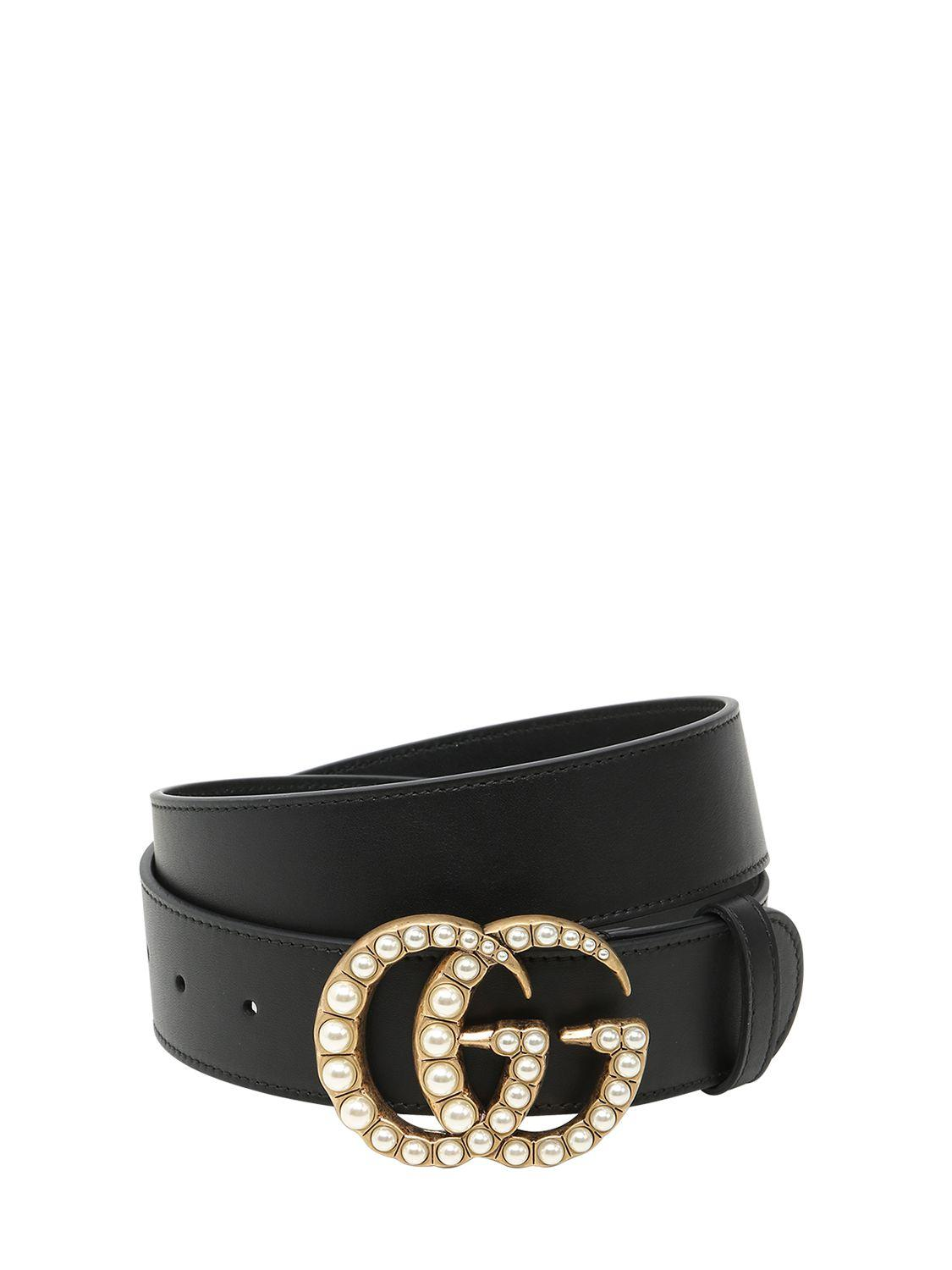 504591f1484 Lyst - Gucci 40mm Gg Marmont Pearl Buckle Belt in Black
