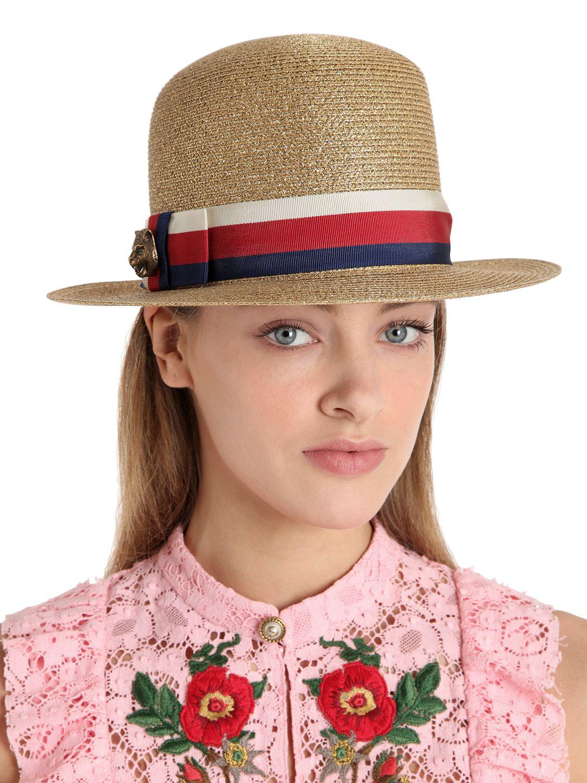 Lyst - Gucci Woven Straw Lurex Hat in Metallic 5bbc3a7ac78