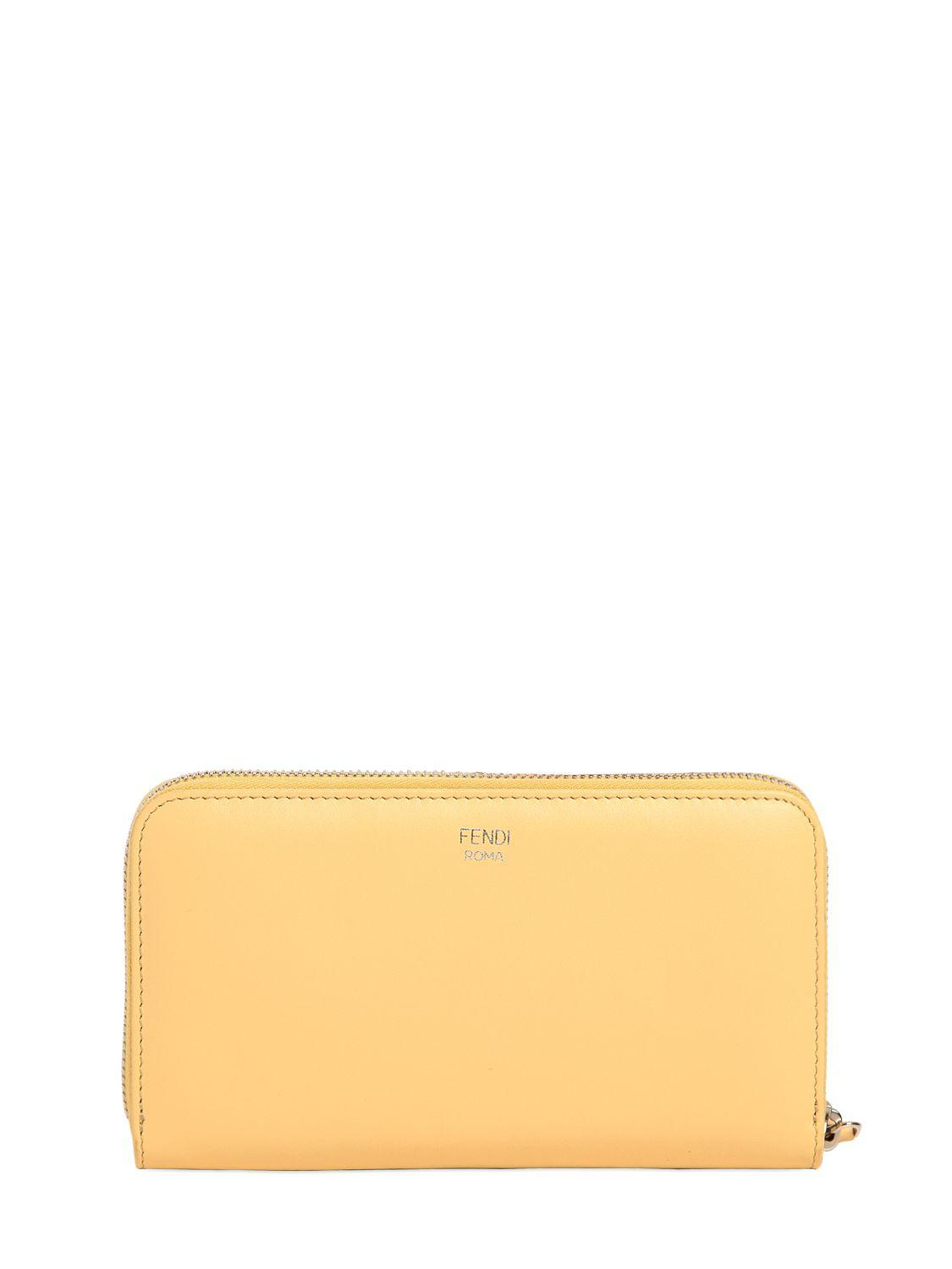 f32001840209 ... clearance lyst fendi faces leather zip around wallet in yellow 1ef9e  1ec5f ...