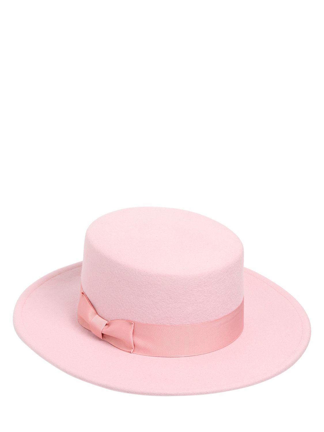 56f0e74449062 Lack of Color The Stardust Boater Wool Hat in Pink - Lyst