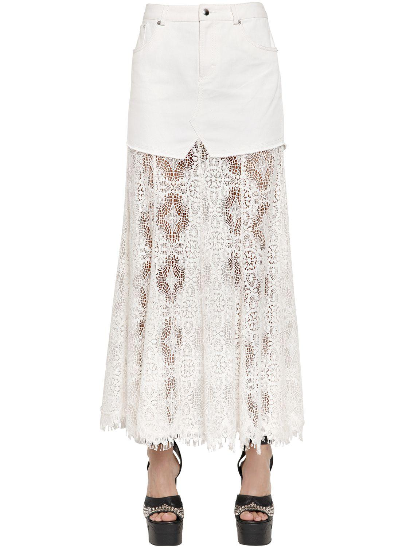 mcq mcqueen lace cotton denim skirt in