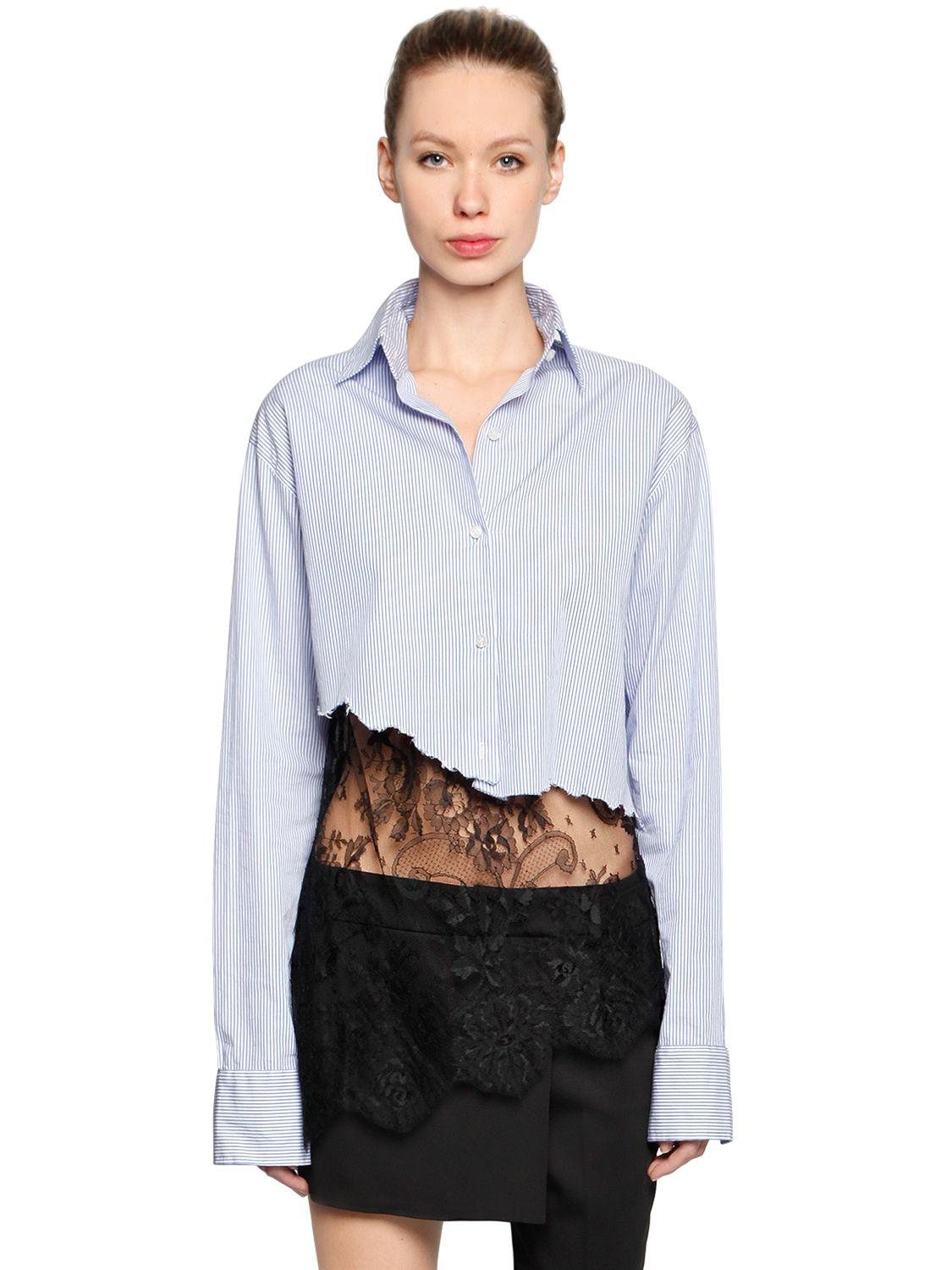 Filles A Papa Cropped Cotton Shirt With Lace Hem Lyst