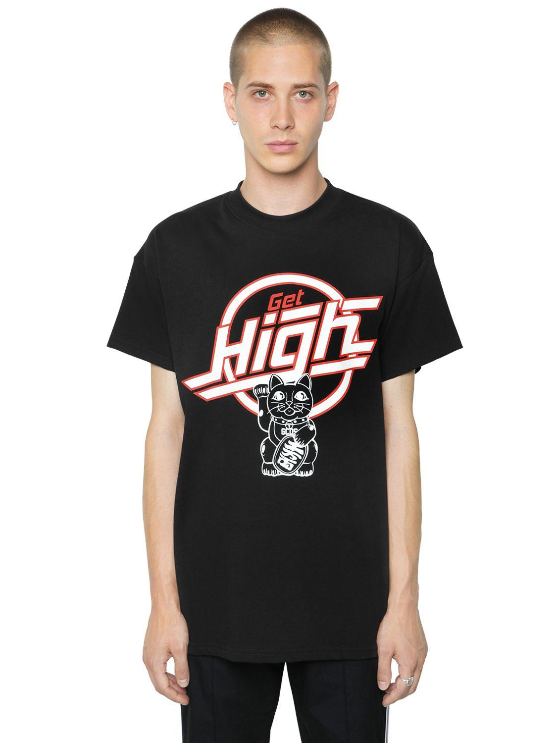 Gcds get high printed cotton jersey t shirt in black for for Get t shirt printed