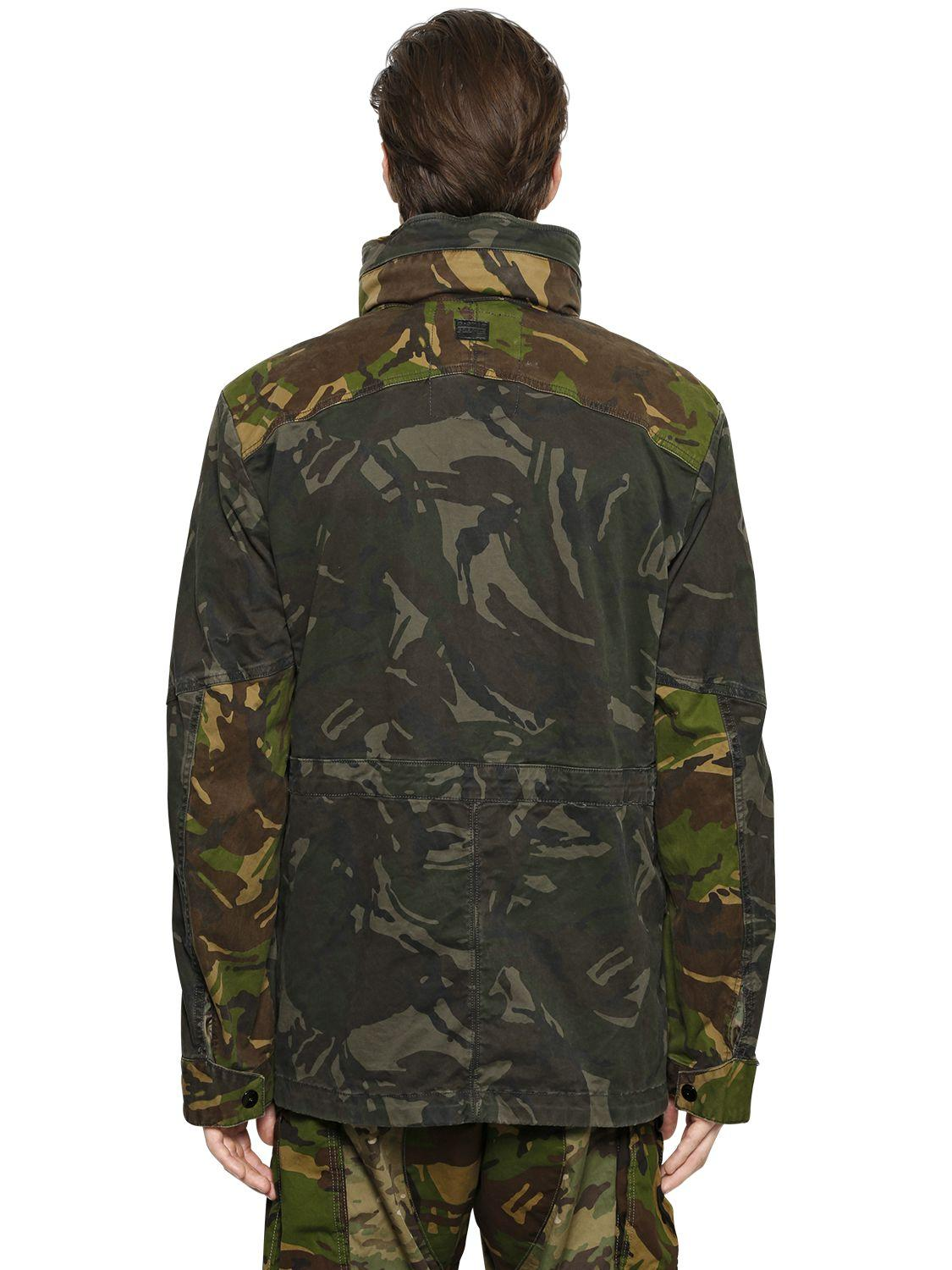 g star raw camo cotton gabardine field jacket in green for men lyst. Black Bedroom Furniture Sets. Home Design Ideas