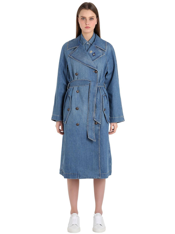 c5107a8f05a Lyst - Tommy Hilfiger Cotton Denim Trench Coat Gigi Hadid in Blue