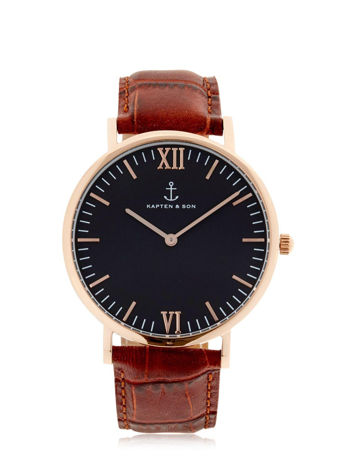 kapten son 40mm embossed leather watch in metallic for men lyst. Black Bedroom Furniture Sets. Home Design Ideas
