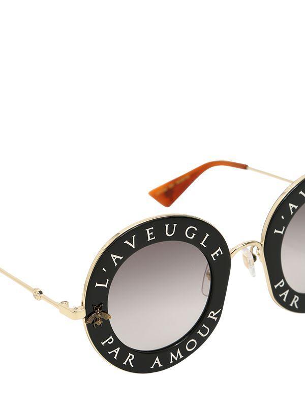 5217070e816 Lyst - Gucci L aveugle Par Amour Round Sunglasses in Black