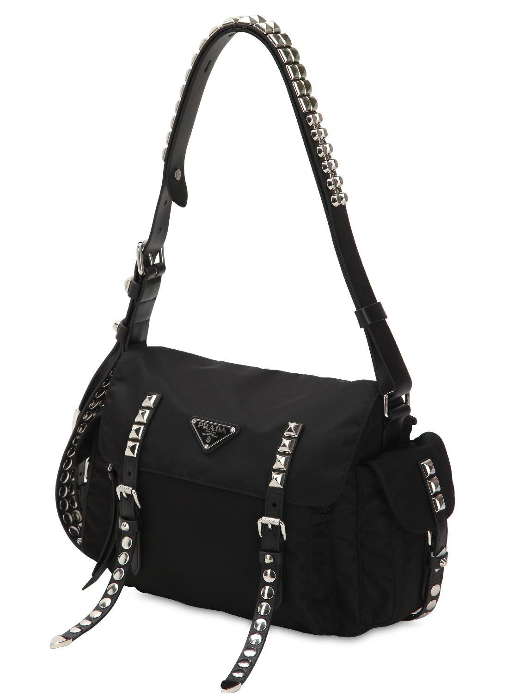 389fd4b78ec5 Prada New Vela Nylon Bag W/ Studs in Black - Lyst