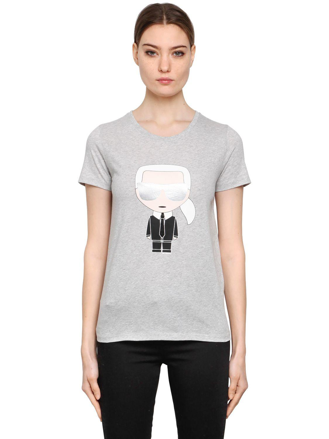 karl lagerfeld ikonik karl cotton jersey t shirt in gray. Black Bedroom Furniture Sets. Home Design Ideas