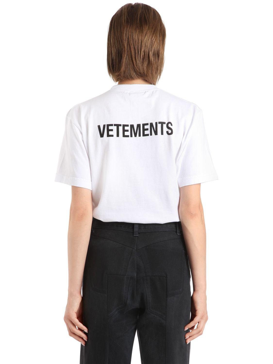 Lyst vetements staff printed jersey t shirt in white for Vetements basic staff t shirt