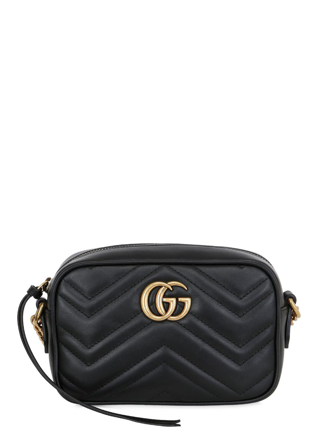 857981835bb Lyst - Gucci Mini Gg Marmont 2.0 Leather Bag in Black