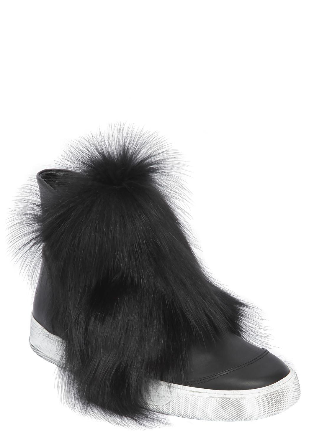 Cheap Visit New BLACK DIONISO 20MM FOX FUR & LEATHER HIGH TOP SNEAKERS Sale Order Outlet Big Discount Clearance Top Quality eZEySUj4xc
