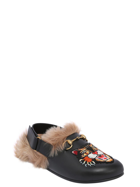 f5b3addb8 Gucci River Cat Patch Leather Mules W/ Fur in Black for Men - Lyst