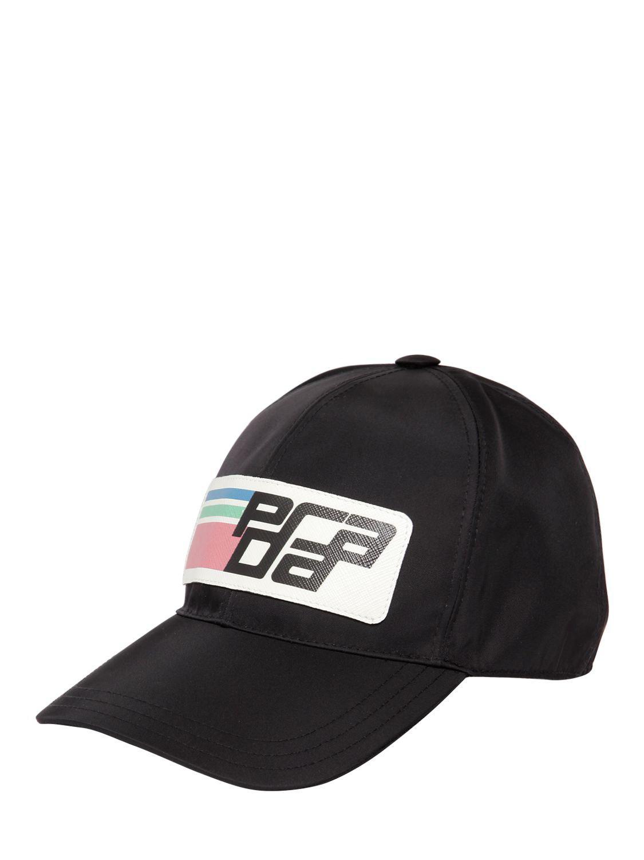 c0b9ee6710f Lyst - Prada Nylon Logo Baseball Cap in Black - Save 40.0%