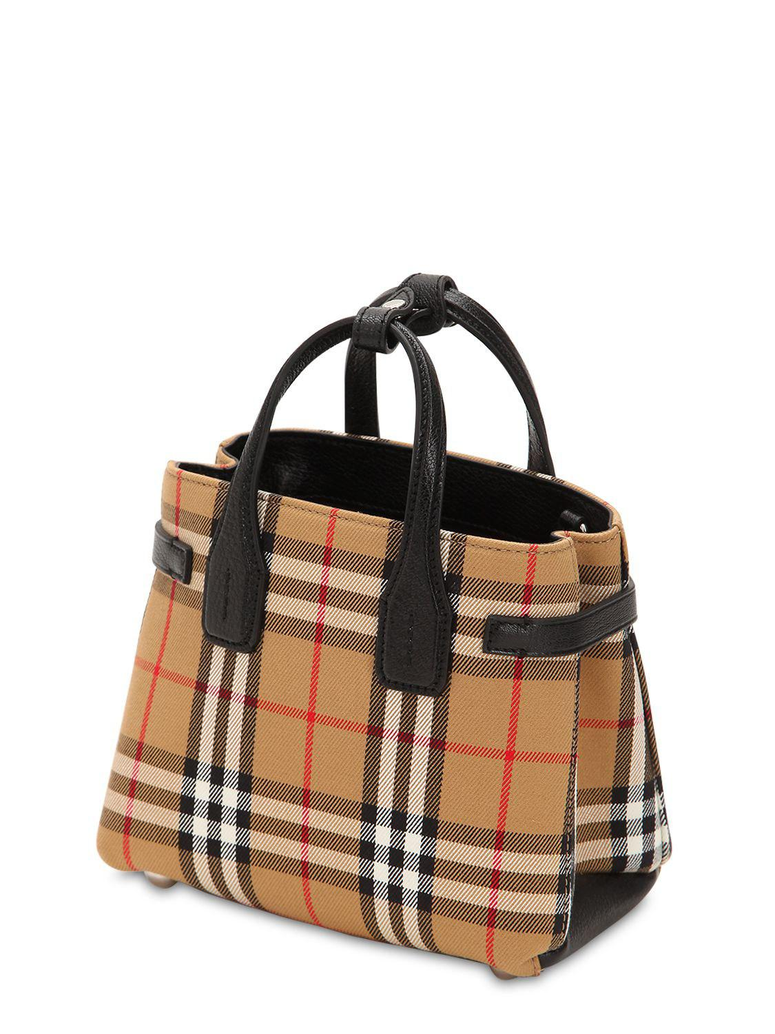f98bedfc22 Burberry - Natural Banner Baby Checked Canvas & Leather Bag - Lyst. View  fullscreen