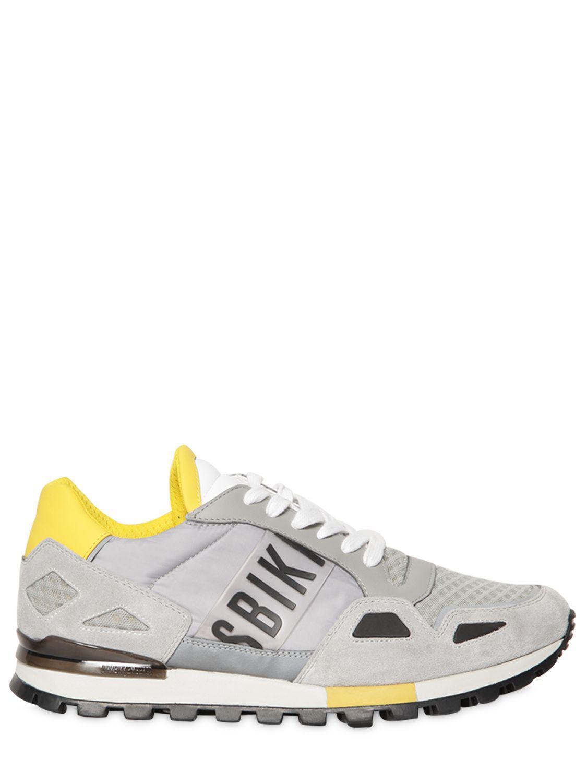 Bikkembergs. Men's Gray Logo Suede & Nylon Running Trainers