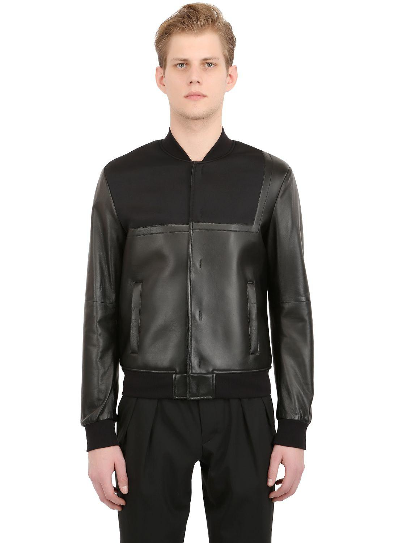 Emporio Armani Asymmetrical Nappa Leather Bomber Jacket In