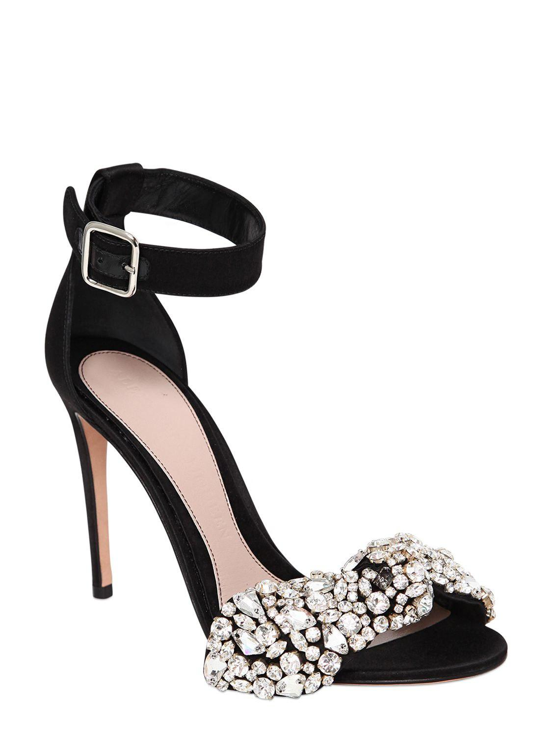 Alexander McQueen 105MM CRYSTAL BOW SATIN SANDALS r7EeN