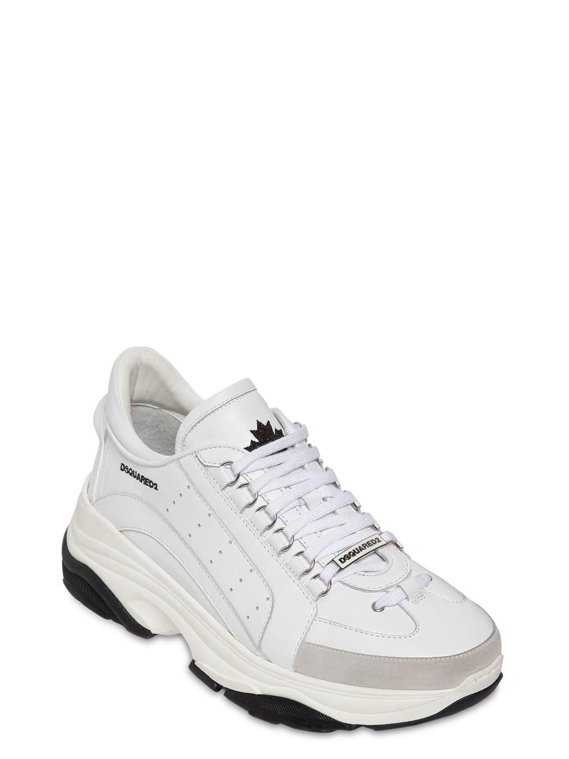 4ebece218b4 DSquared² 551 Bumpy Leather & Suede Sneakers in White for Men - Lyst