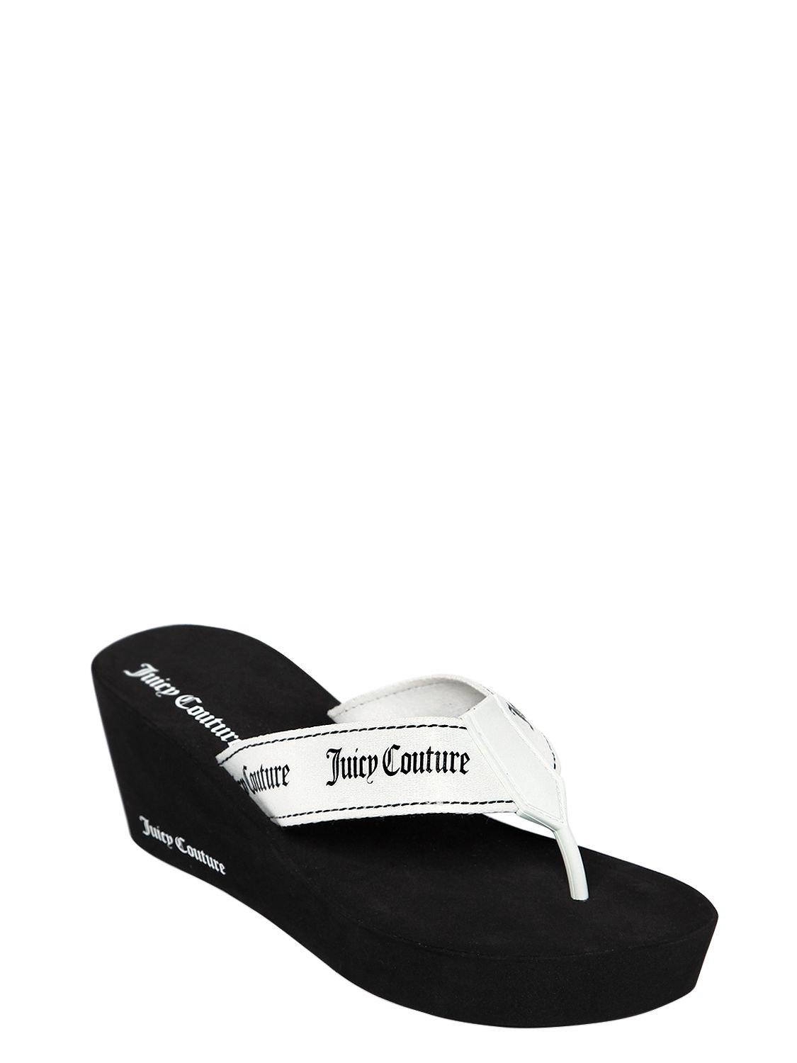 b8efac9f289cd3 Juicy Couture 60mm Naomi Nylon Wedge Flip Flops in White - Lyst