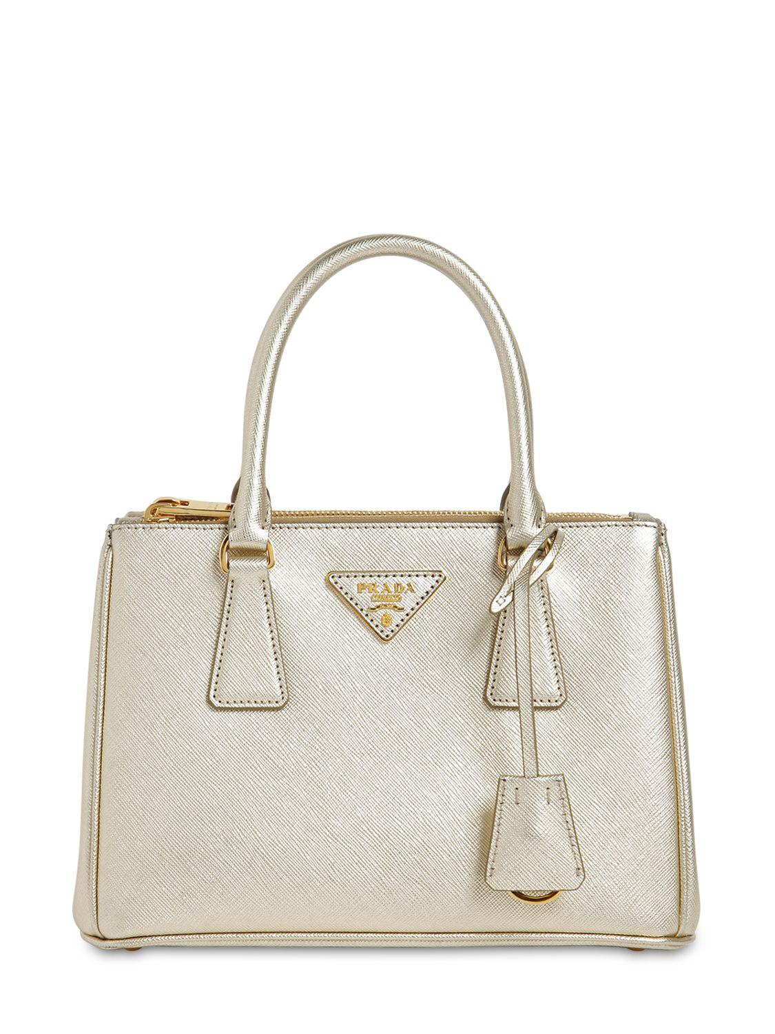770d0d964f Prada Small Galleria Saffiano Leather Bag in Metallic - Lyst