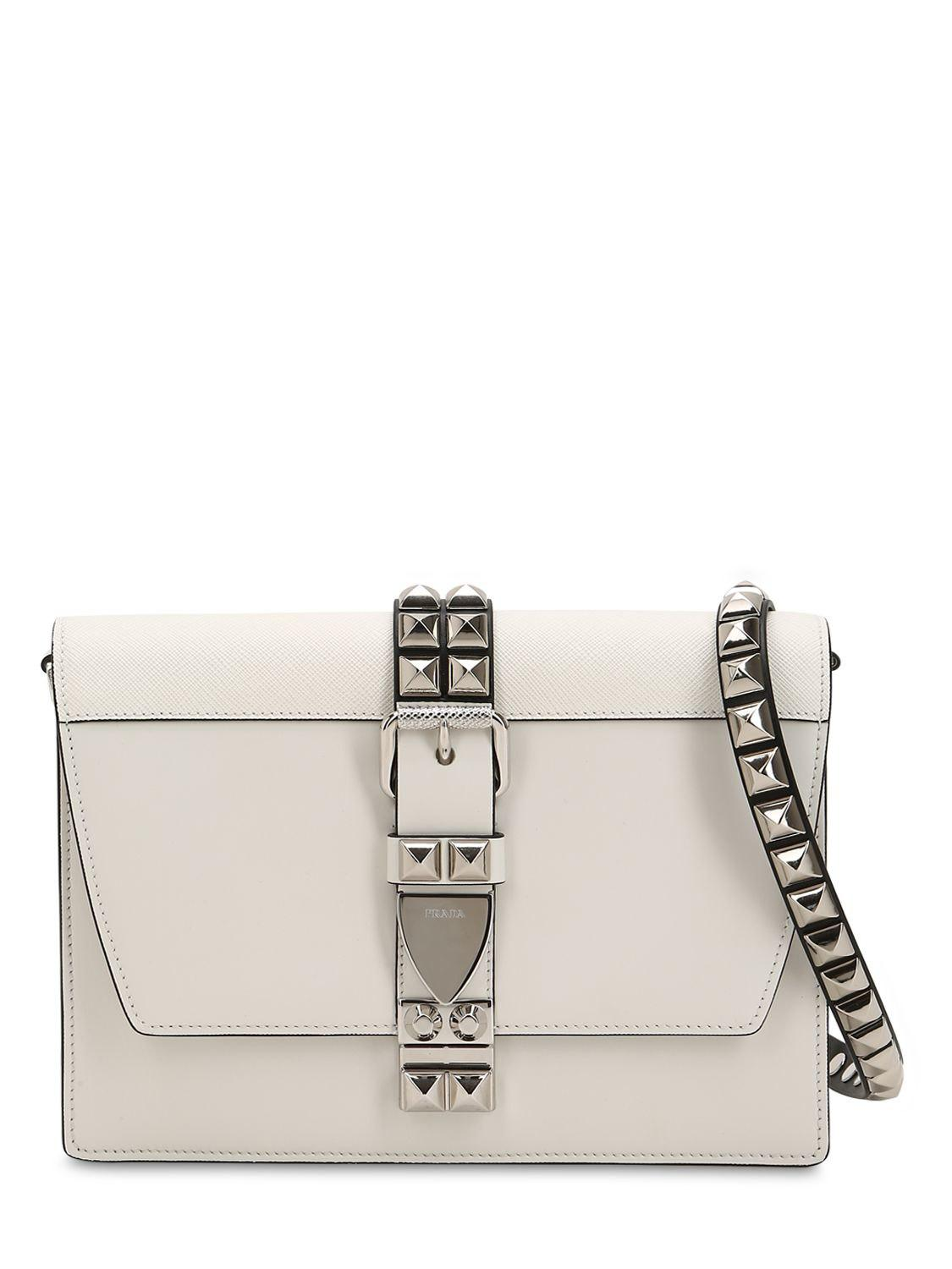 50055817c45e Prada Elektra Studded Leather Shoulder Bag in White - Lyst