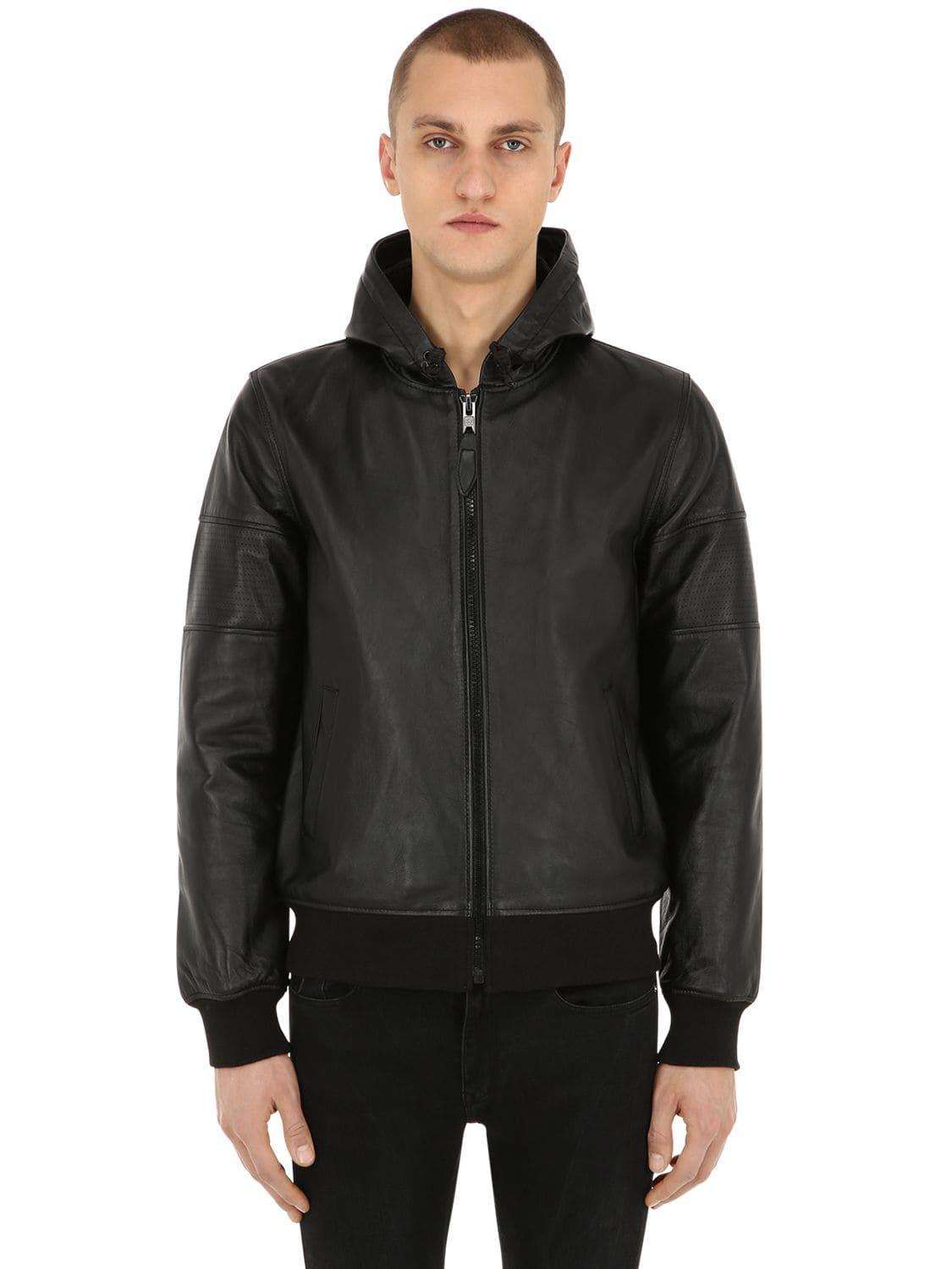 1cb5b4572526 Lyst - Schott Nyc Hooded Perforated Leather Jacket in Black for Men