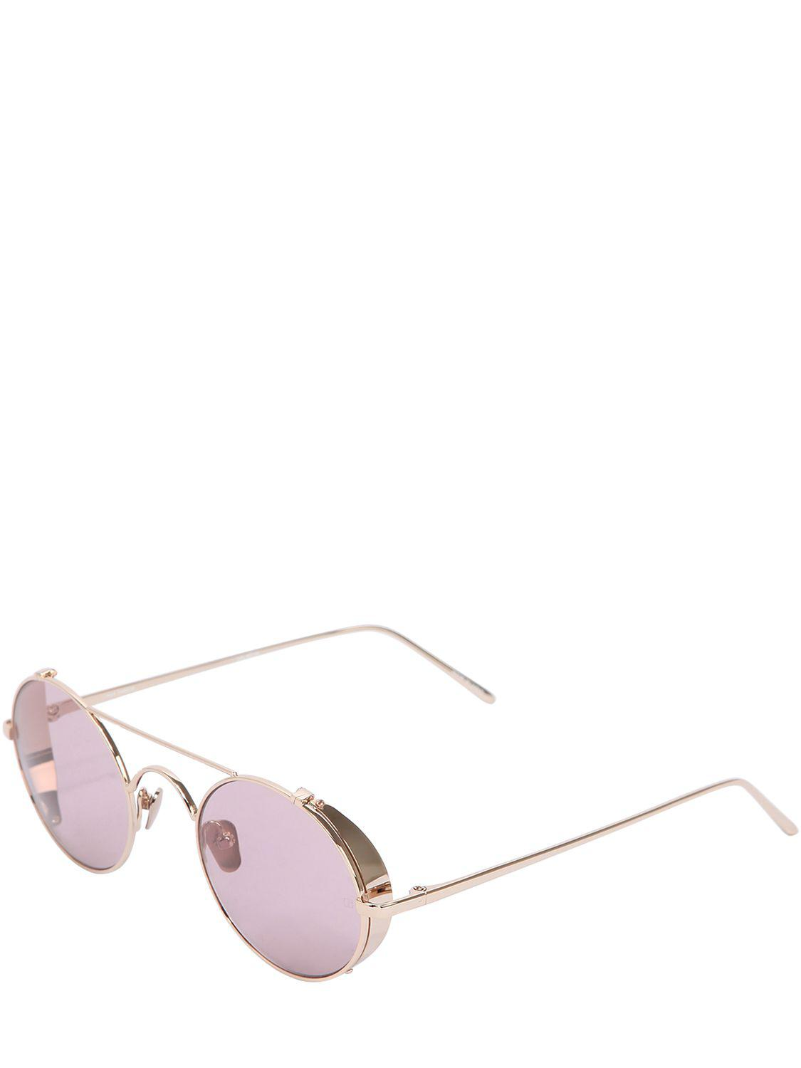 linda farrow 427 c12 round sunglasses in pink lyst