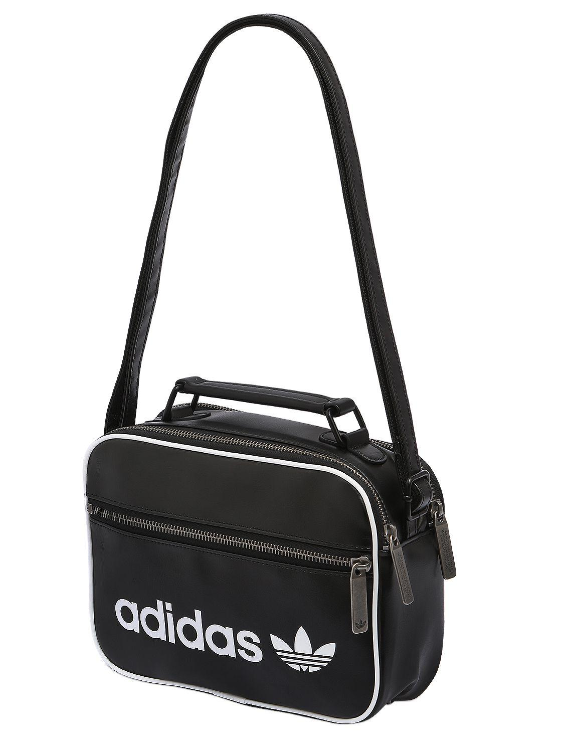 c971bf07f7 adidas Originals Mini Airliner Vintage Faux Leather Bag in Black - Lyst
