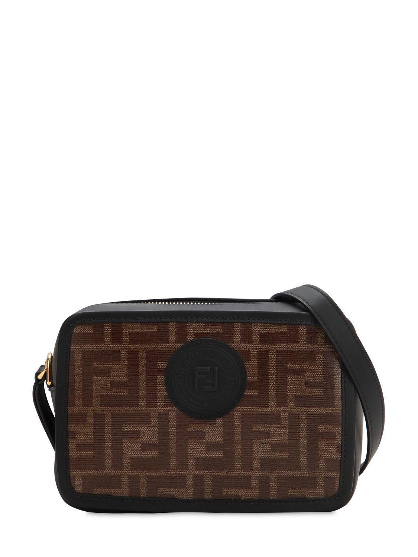 Lyst - Fendi Logo Printed Canvas   Leather Camera Bag in Black - Save 7% bf3367b32c62f