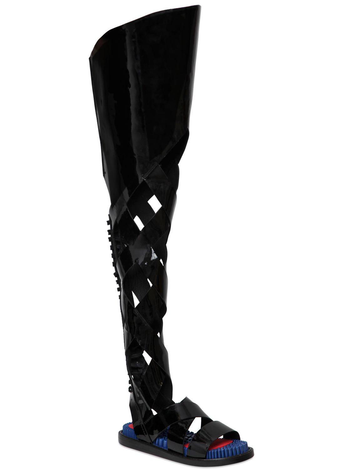 Lyst Kenzo Patent Leather Gladiator Sandals In Black