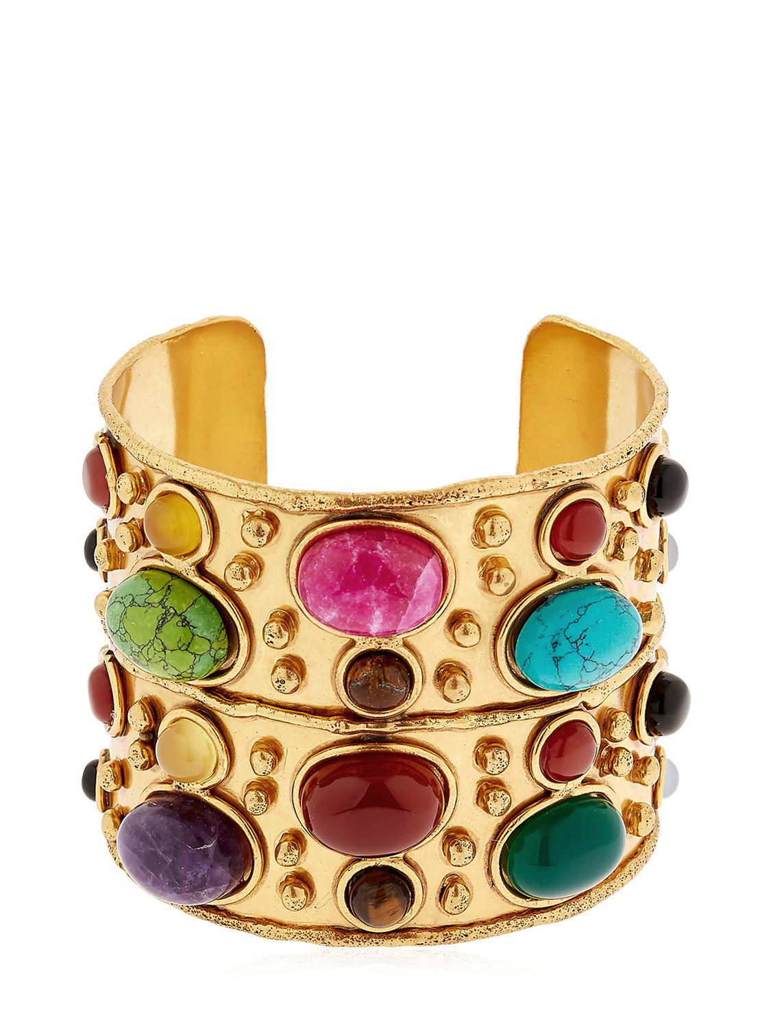 Wonder Byzance Cuff Bracelet in Gold-Plated Brass with Multi-Stones Sylvia Toledano rO6bH