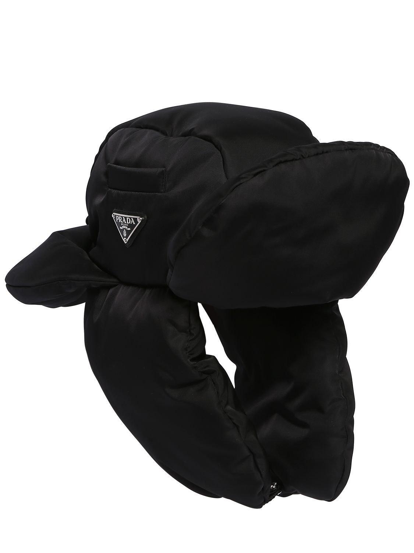 d7b3c02bdb4 Prada - Black Padded Nylon Trapper Hat for Men - Lyst. View fullscreen