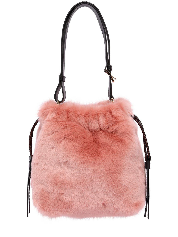 Lyst - Furla Cao Caos Faux Fur Bucket Bag in Pink 2c982d8dc766a