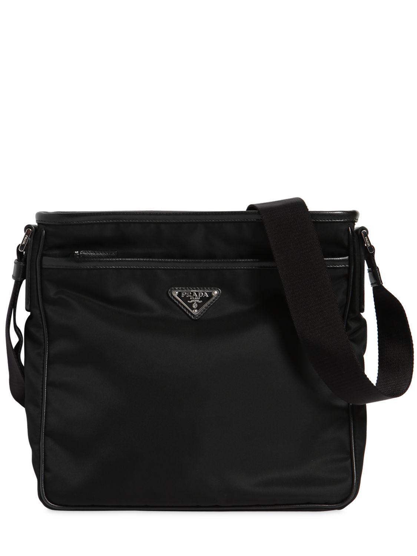 d74905ba1c21 Lyst - Prada Nylon Crossbody Bag W  Leather Trim in Black for Men