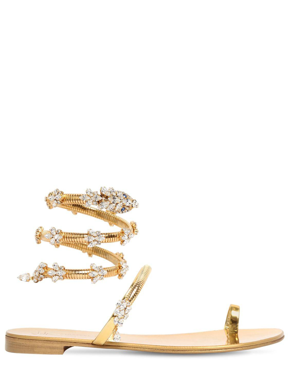 297fe8ac06473 Lyst - Giuseppe Zanotti 10mm Crystal Snake Bracelet Sandals in Metallic