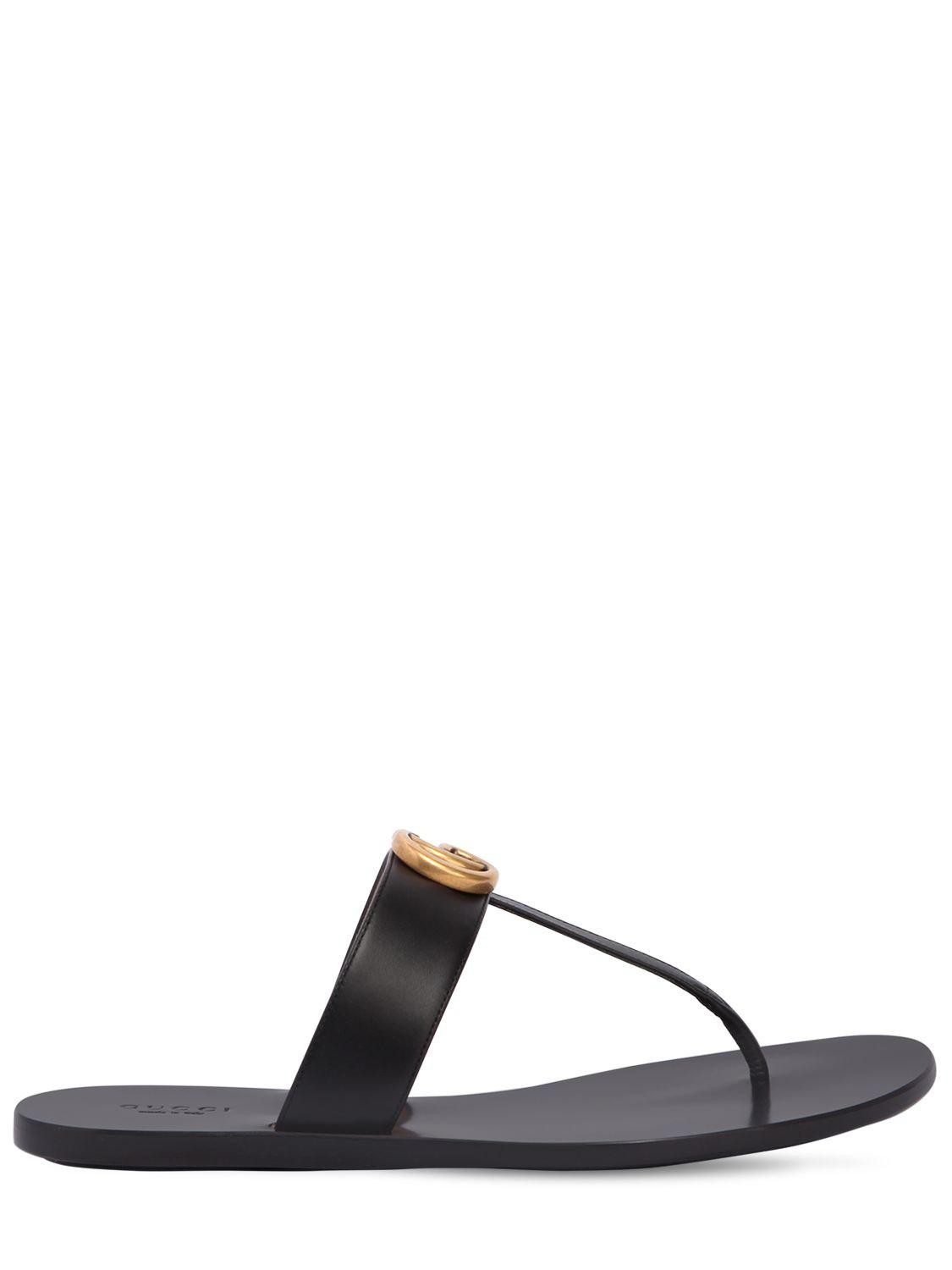 2b9bdabe9279 Lyst - Gucci 10mm Marmont Leather Thong Sandals in Black - Save 13%